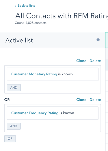 All Contacts with RFM Ratings 1 List Criteria