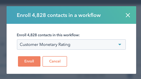 All Contacts with RFM Ratings 4 add to workflow
