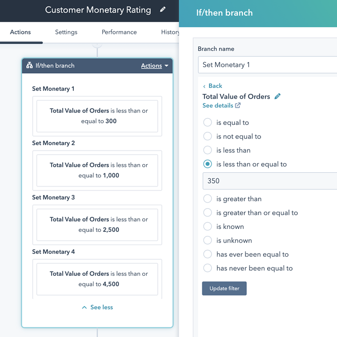 Customer Monetary Workflow 7 update ranges