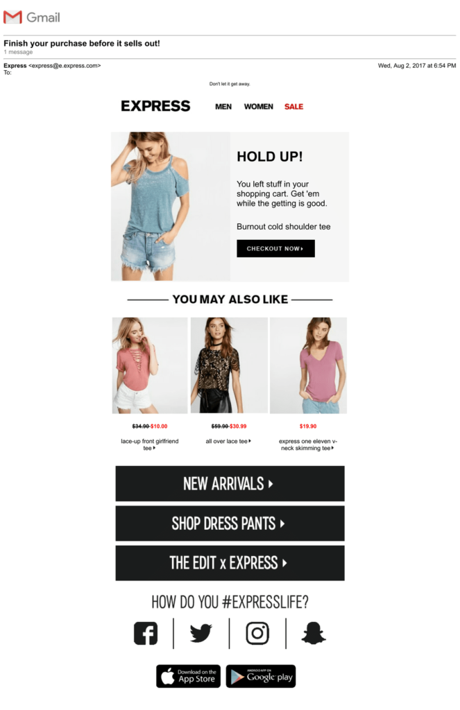best cart abandonment email examples