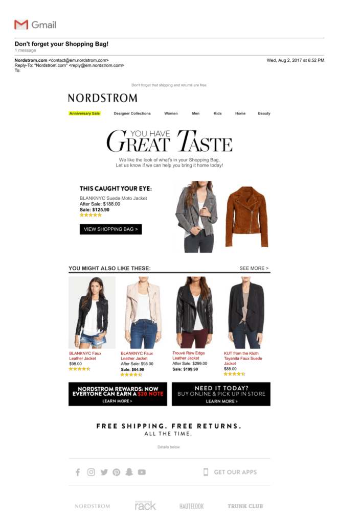 best abandoned cart emails campaign examples