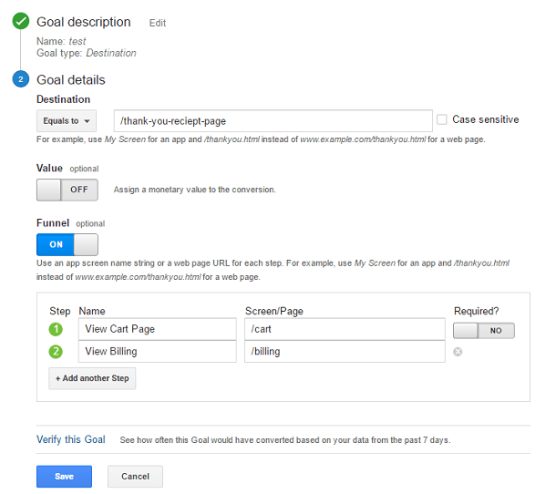 google analytics goal details