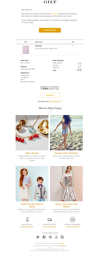 ecommerce shipping email