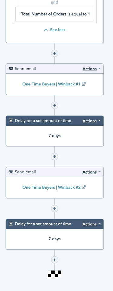 New Customer Churn Winback Workflow 2 Actions