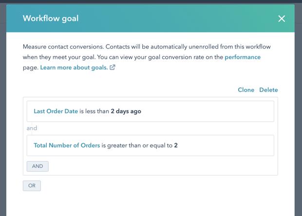 New Customer Churn Winback Workflow 3 Goal
