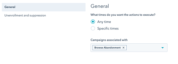 Set your browse abandonment campaign preferences for timing and campaign association in HubSpot