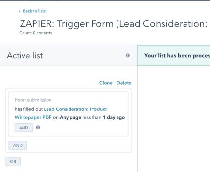 Zapier trigger from HubSpot to Klaviyo
