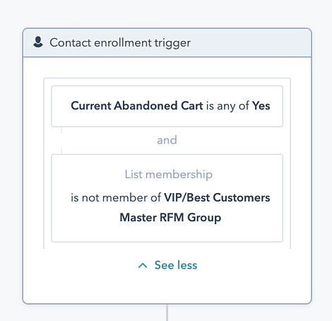 VIP Abandoned Cart Workflow 2 Exclude triggers
