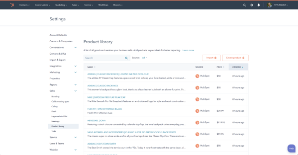 HubSpot Ecommerce Product Library