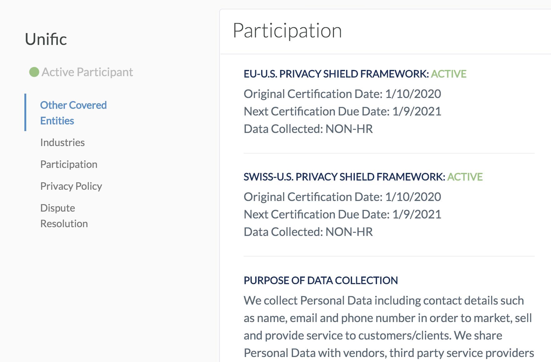 Unific Privacy Shield Certification