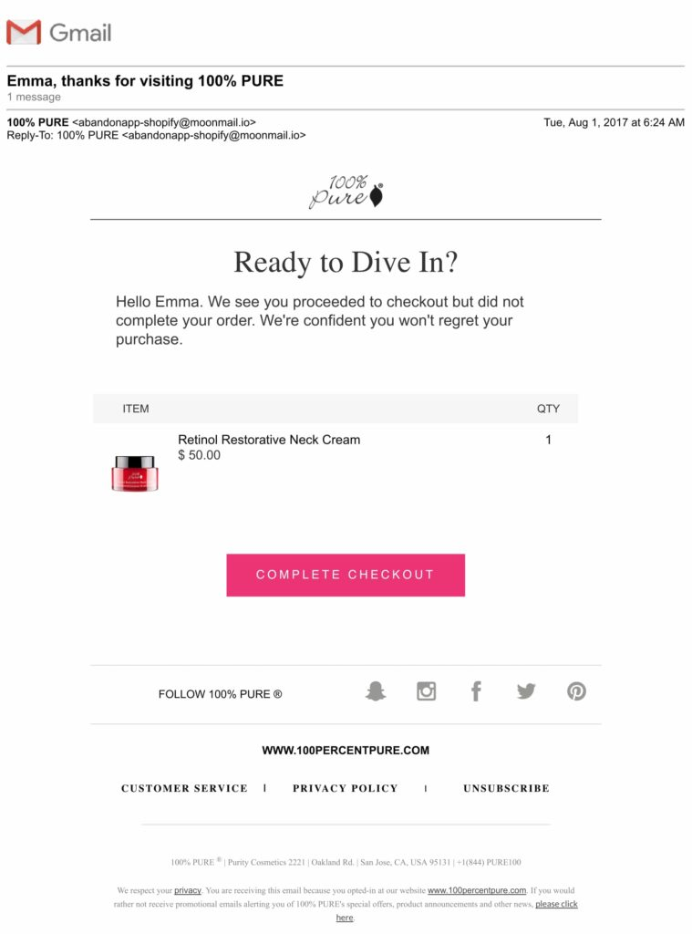 abandoned cart emails examples
